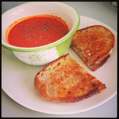 homemade tomato soup + grilled cheese varieties