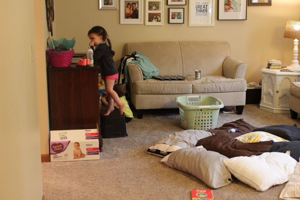 for me, learning to clean with little ones around has been a balance of letting go of my neat-freak inclination & learning how to put easy-to-maintain systems in place for relative neatness. here are the 3 main reasons why I bother cleaning at all and 7 tips for having a kinda clean house with little ones.