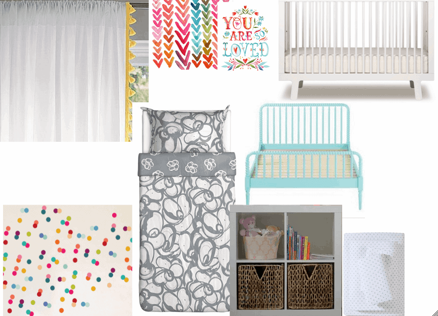 big girl DIY room makeover design board