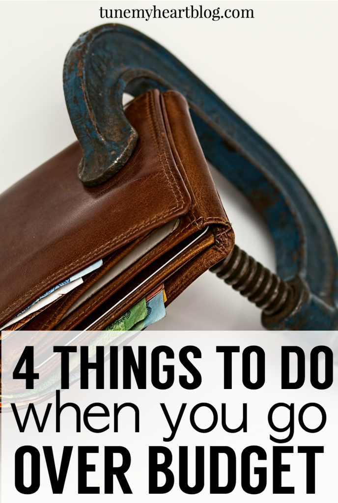 One of the biggest budgeting frustrations I hear from people is: I always go over budget.  Here are 4 things you can do when you go over budget that will help you stick to your budget in the future.