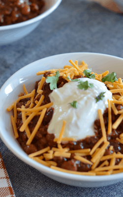 Delicious crockpot chili that truly can be left in the crockpot all day long. Perfect for those cold fall and winter evenings.