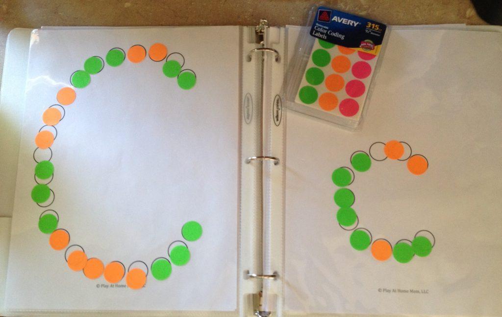 dot sticker ideas ABCs; tot school; toddler activities