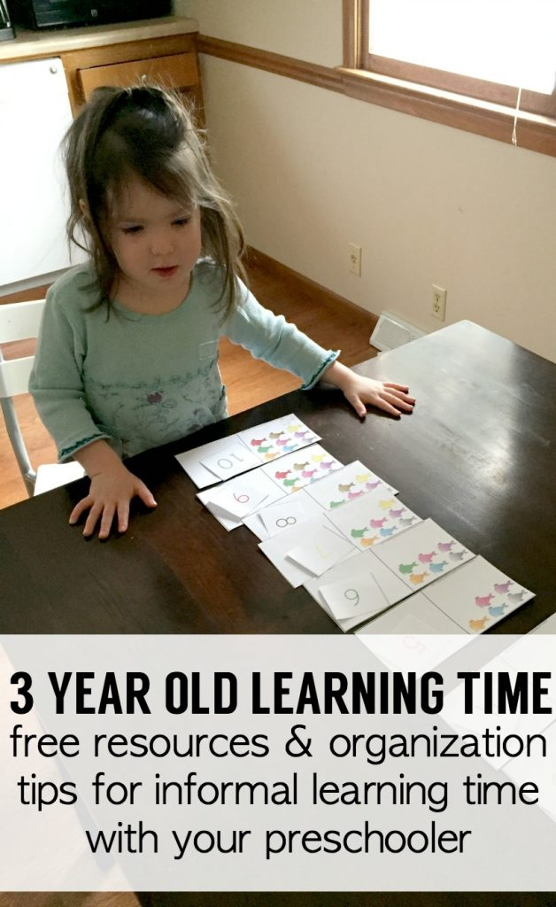 """We recently started """"learning time."""" I don't even call it """"home school"""" yet because it's informal. But I do some prep each week. Everything is simple & easy. Here are my home school preschool curriculum and prep details and some organizational tips for minimizing the amount of extra time you put in. After all, they're only 3 ;)"""