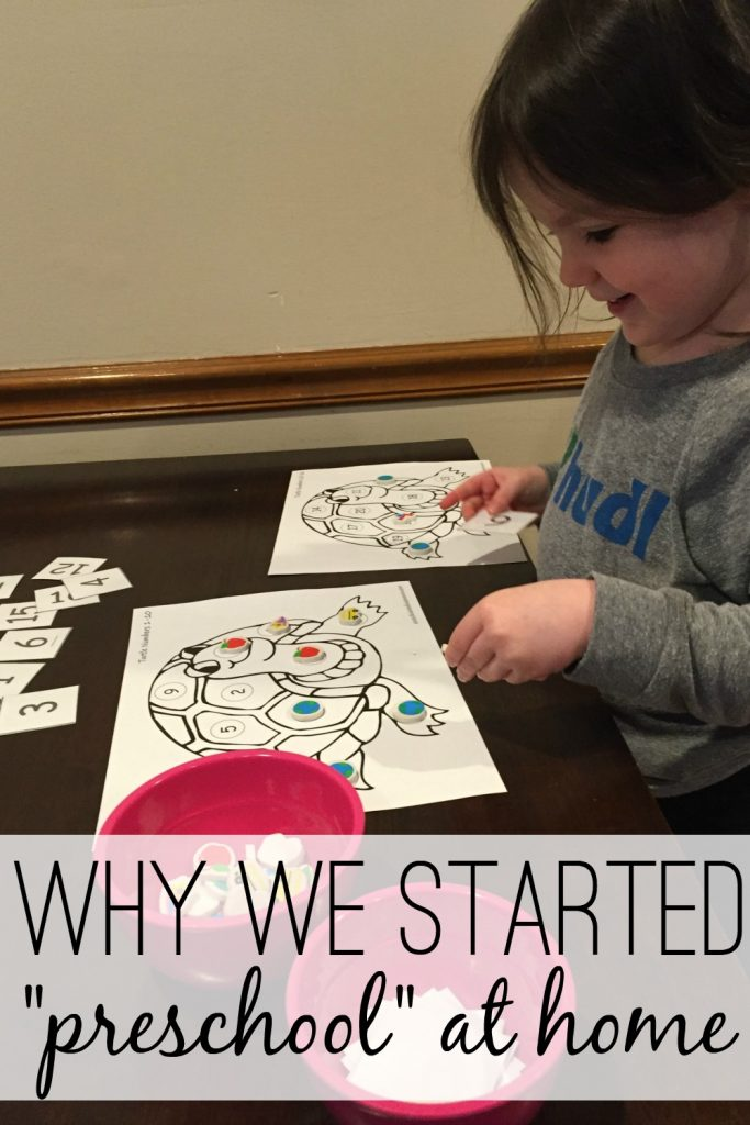 "Even though I was nervous about starting my 3 year old with preschool at home, we took the plunge! Her interest in words, letters, and reading is what initiated it all. In fact, I can't even bring myself to call it preschool or homeschool.... we call it learning time. Read more about what finally made me give ""homeschool preschool"" a try!"