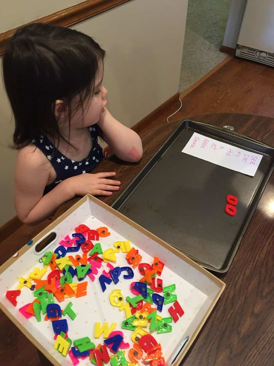 Check out this simple + fun way for kids to practice spelling and reading their sight words with magnetic letters.