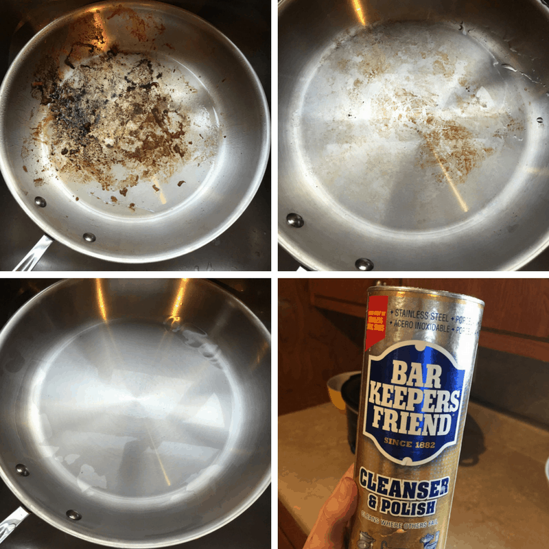 $5 products that are totally worth it! use bar keeper's friend to clean your stainless steel pans