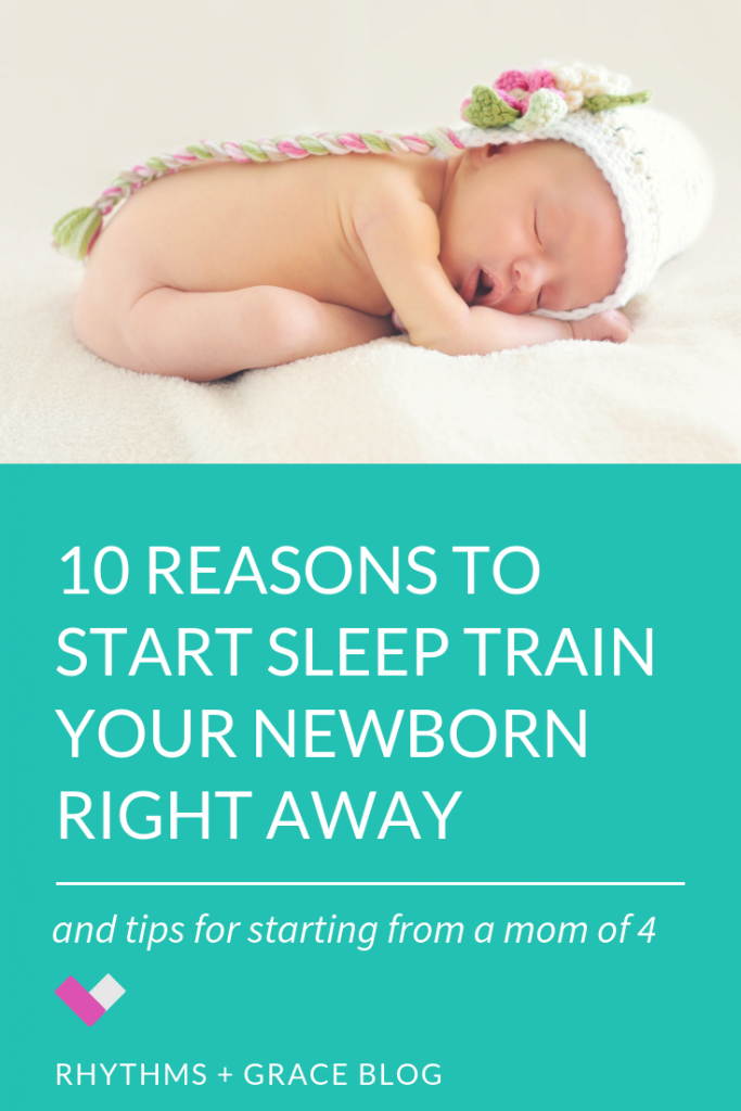 Want to start sleep training your newborn? Here are 10 reasons to start sooner than later. The sooner you start teaching your baby to self soothe and sleep in their own bed, the easier it'll be. If you want a baby that has a predictable schedule and sleeps through the night by 3-4 months old, this is for you!