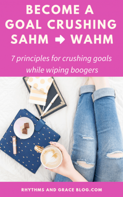 It's hard to set goals as a mom because you're always putting your kids first. And that's okay! That's what makes you a good mom. You can still plan to crush your goals though; here are some ideas for realistic goal setting with kids; goals for work at home moms