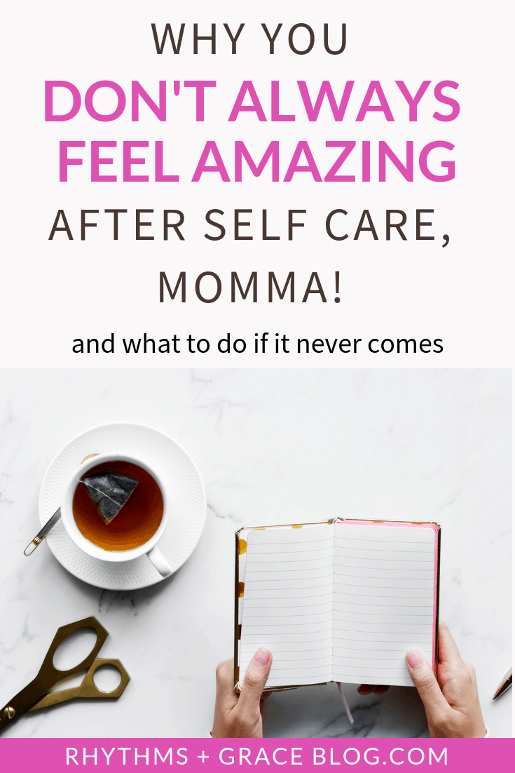 "Hey, new momma! Have you felt desperate need of some self care or some ""me"" time, and then it doesn't come? A kid gets sick, or the sitter cancels, or life happens? What do you do? Find some encouragement and ideas here!"