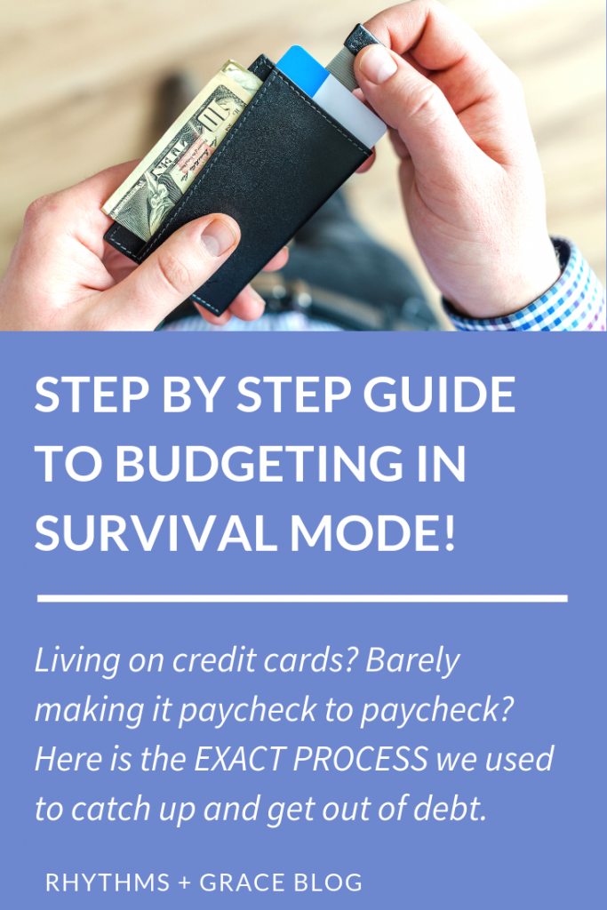 Are you in financial survival mode? Tired of living paycheck to paycheck? Here's how to get out of debt, get a month ahead and survive even on a low income. #budgeting #personalfinance #debt