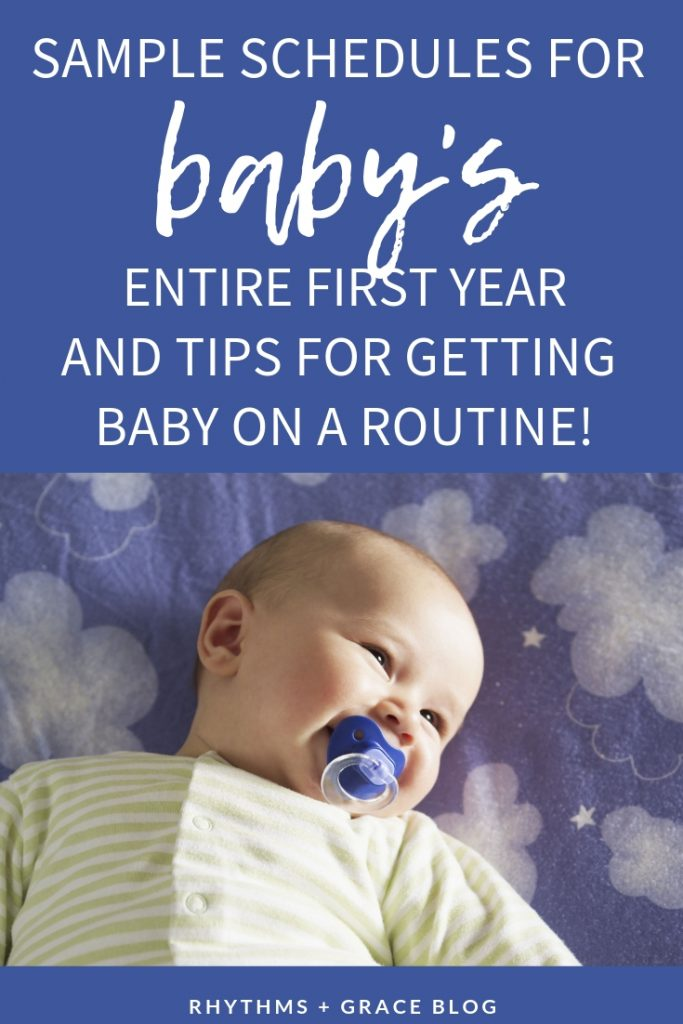 sample baby schedules for each age range during the first year of baby's life. Feeding and sleeping schedules for newborns, 3 months, 6 months, 12 months. These sample routines will help you know how much sleep baby needs #newborn #babysleep #sleeptraining #pregnancy