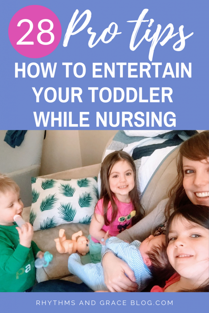 Want to keep your toddler busy while nursing your newborn? 28 awesome tips for juggling a newborn and toddler! Plus, how to get your newborn on a daily routine ASAP.  #momlife #motherhood #newborns #newparents