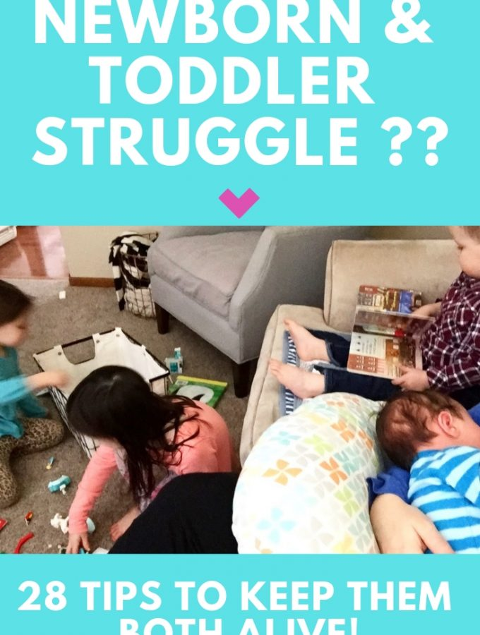 Want to keep toddler busy while nursing your newborn? Here are 28 ideas to help you manage a toddler and a newborn. You can do it! #momlife #toddler #newmom #2under2 #momof2 #motherhood