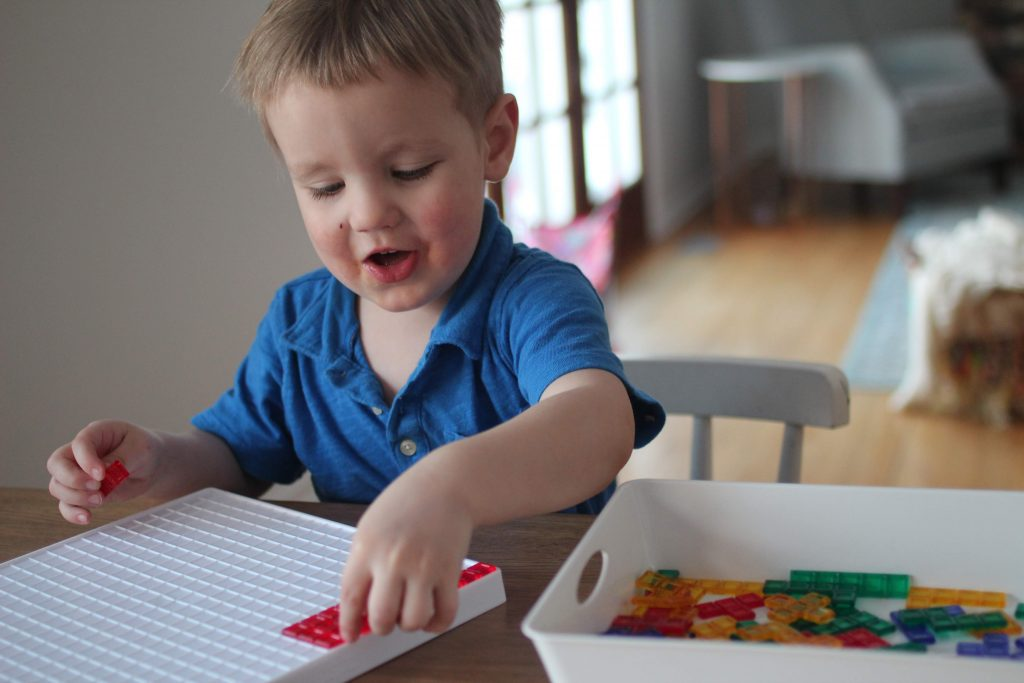 Blokus is a surprisingly fun game for toddlers and preschoolers. They can't usually play by the rules but it great for developing spatial awareness, color sorting, and independent play while feeling like one of the big kids!