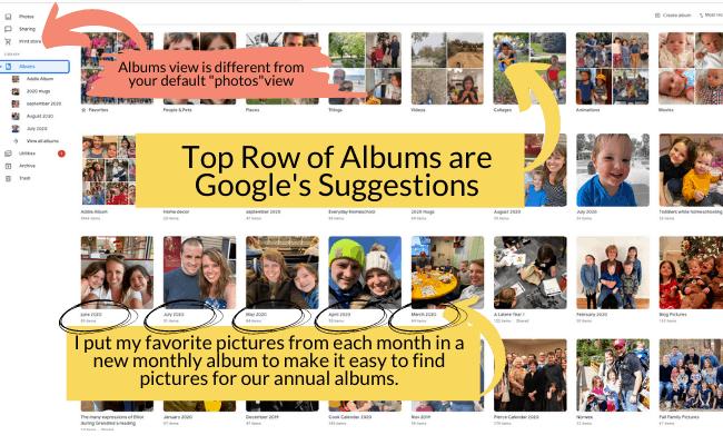 how to use Google photos organize albums